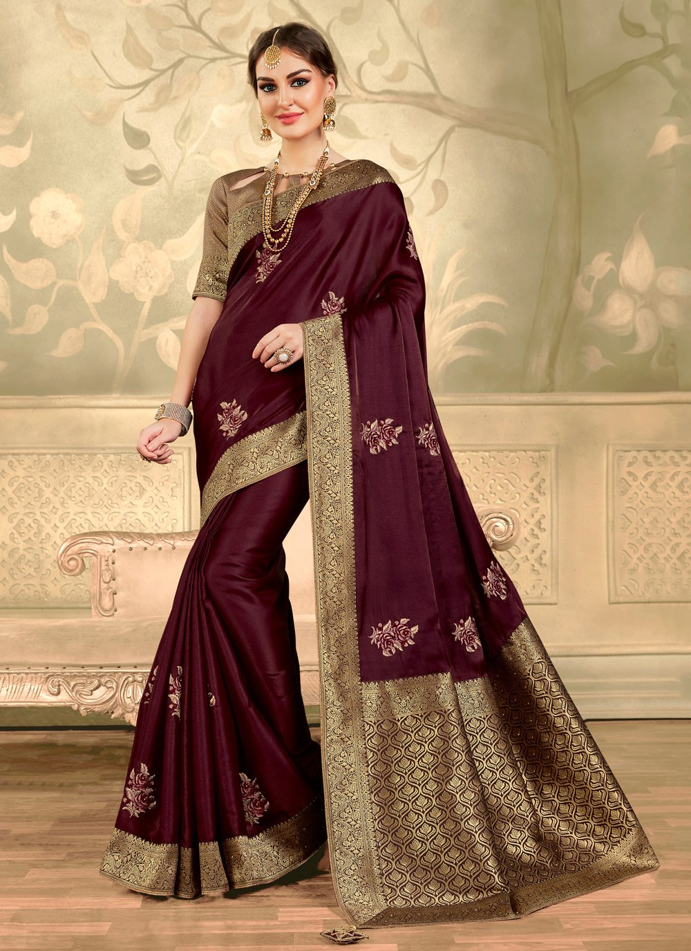 Embroidered Wine Trendy Saree