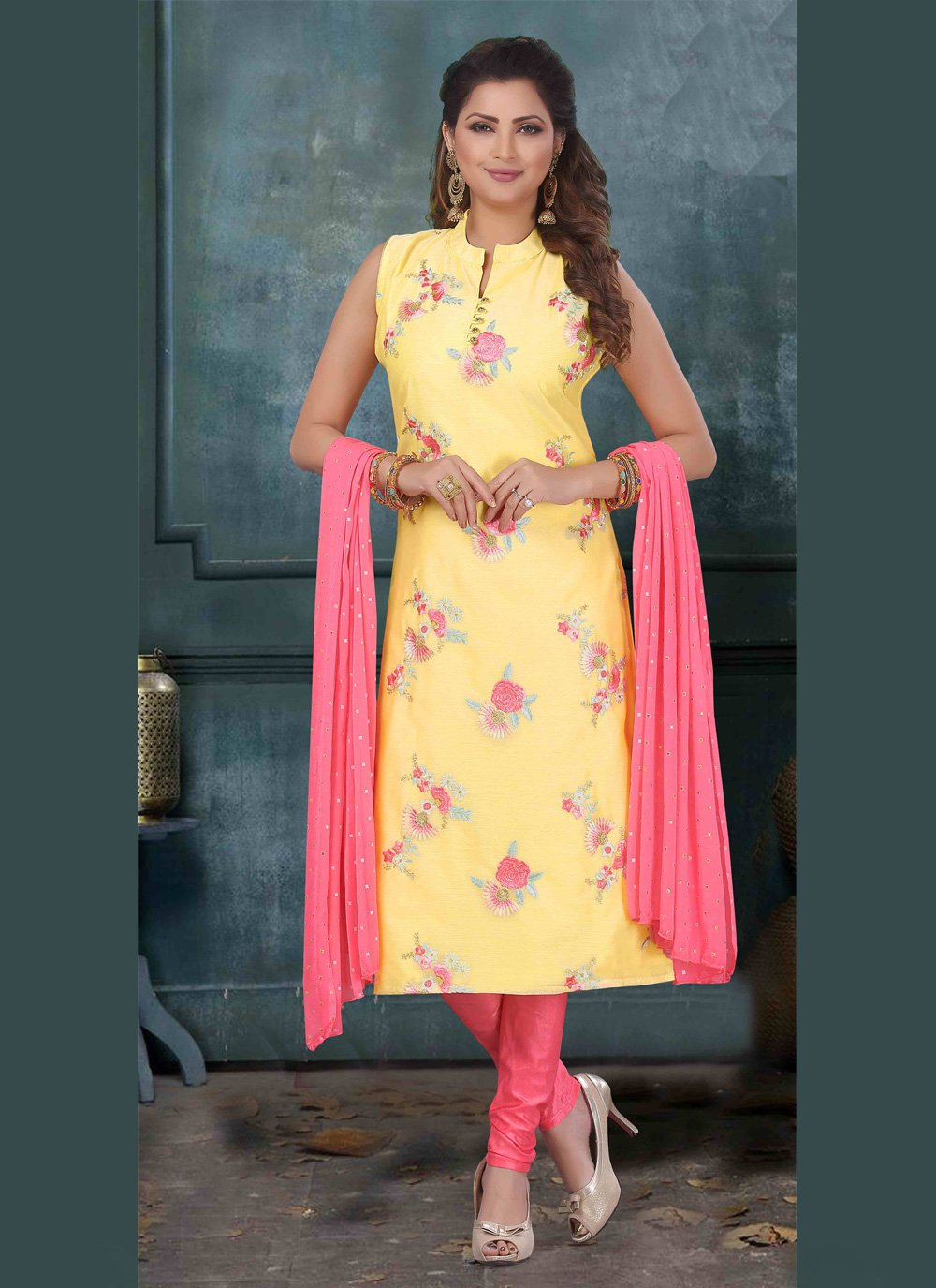 Embroidered Yellow Art Silk Bollywood Salwar Kameez