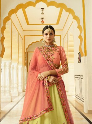 Embroidered Yellow Art Silk Designer Lehenga Choli