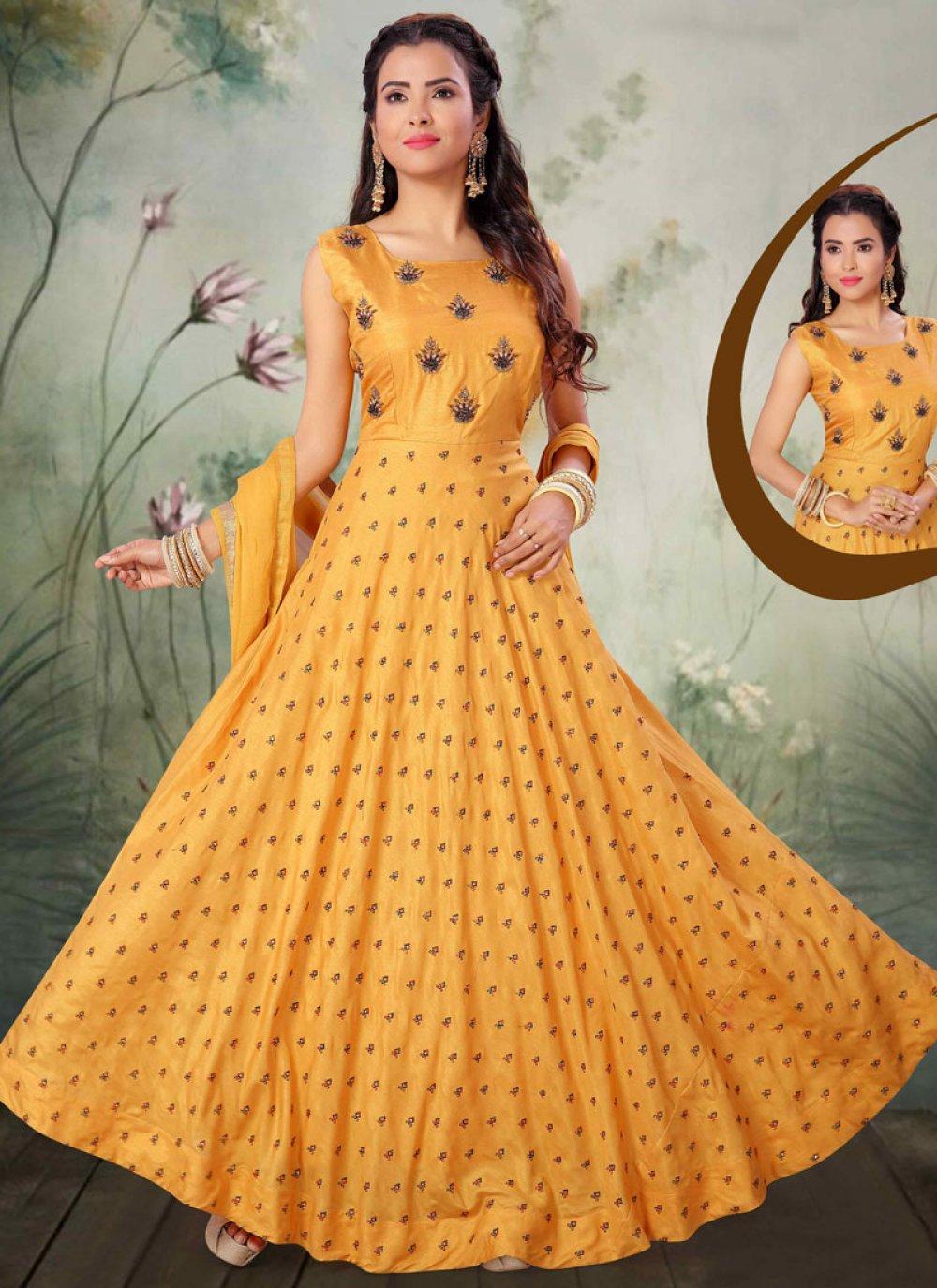 Embroidered Yellow Art Silk Salwar Suit