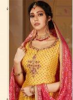 Embroidered Yellow Banarasi Silk Readymade Salwar Kameez