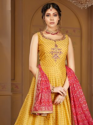 Embroidered Yellow Banarasi Silk Readymade Salwar Kameez
