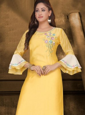 Embroidered Yellow Casual Kurti