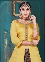 Embroidered Yellow Chinon Lehenga Choli
