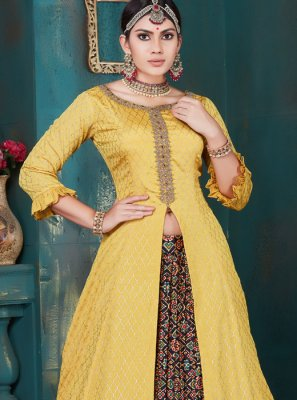 Embroidered Yellow Chinon Lehenga Choli