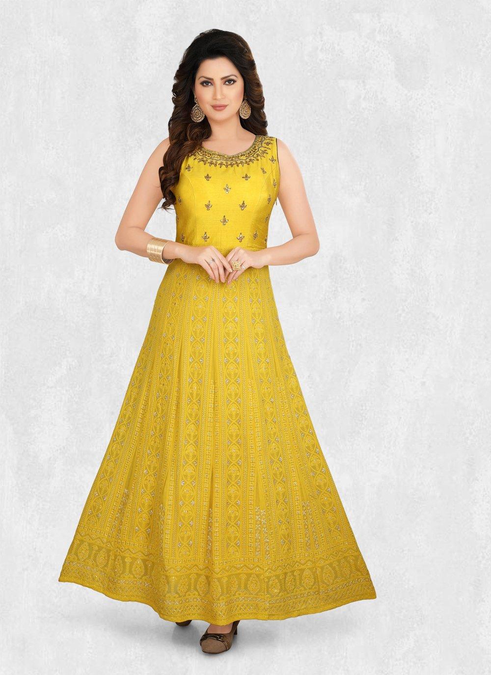 Embroidered Yellow Designer Kurti