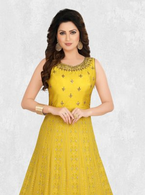 Embroidered Yellow Designer Kurti