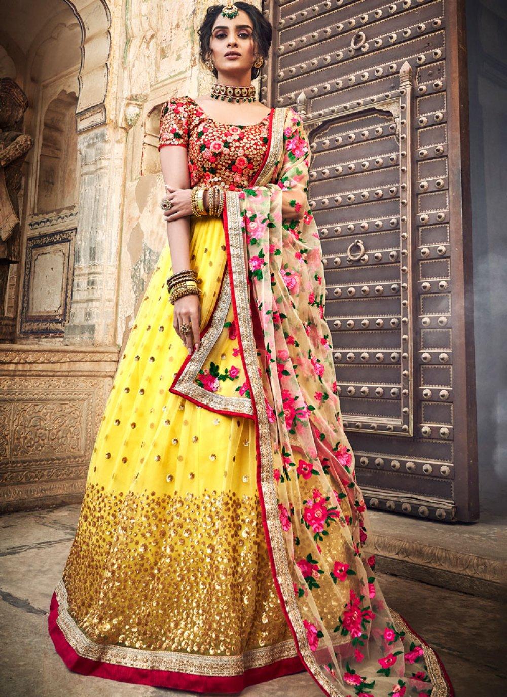 Embroidered Yellow Designer Lehenga Choli