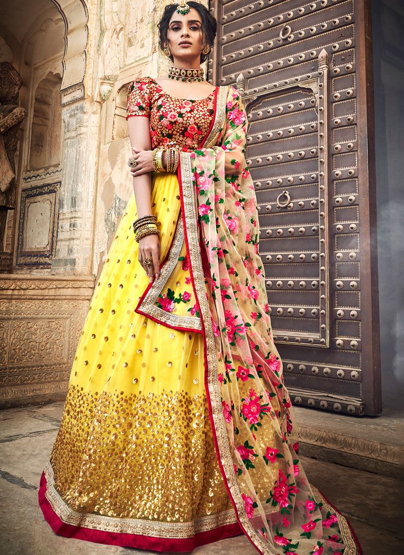 Embroidered Yellow Designer Lehenga Choli