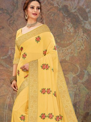Embroidered Yellow Faux Chiffon Traditional Designer Saree
