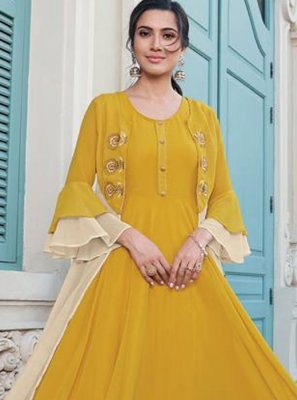 Embroidered Yellow Faux Georgette Trendy Gown