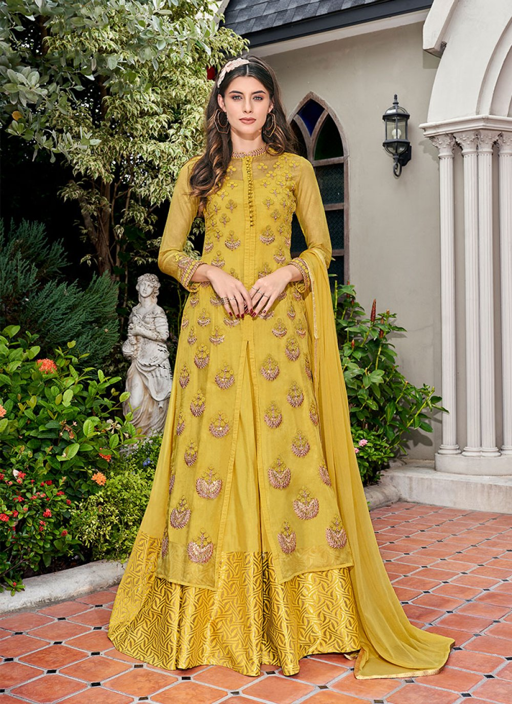 Embroidered Yellow Glass Tissue Designer Salwar Suit