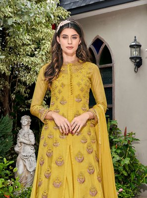 Embroidered Yellow Glass Tissue Designer Salwar Suit