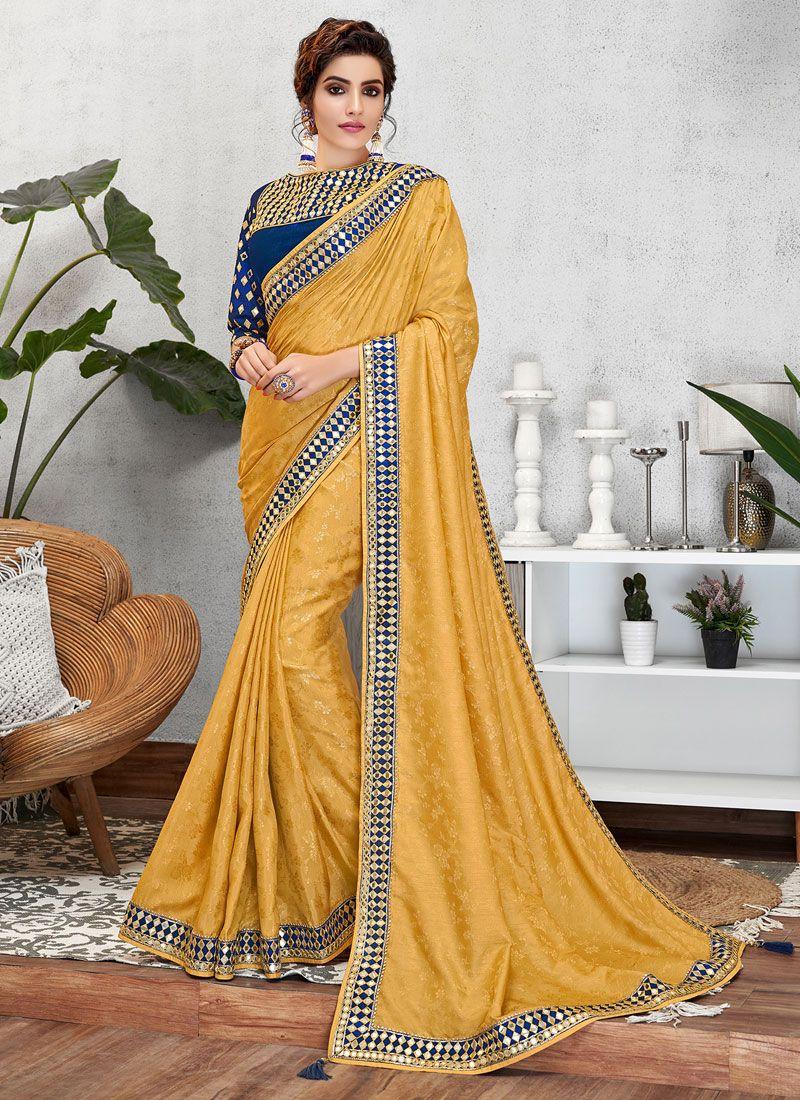 Embroidered Yellow Jacquard Silk Designer Traditional Saree