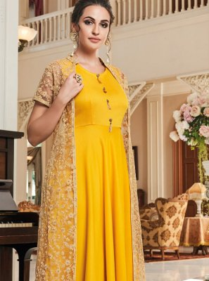 Embroidered Yellow Muslin Readymade Suit