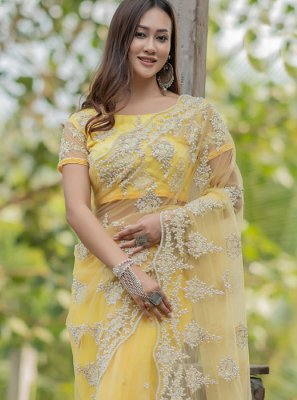 Embroidered Yellow Net Trendy Saree