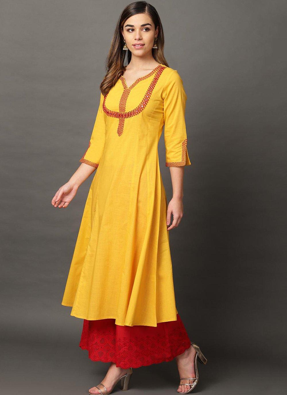 Embroidered Yellow Rayon Casual Kurti