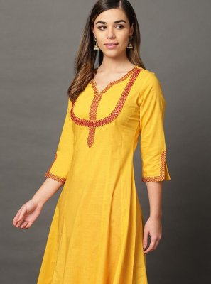 Embroidered Yellow Rayon Casual Kurti