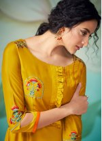 Embroidered Yellow Readymade Designer Salwar Suit