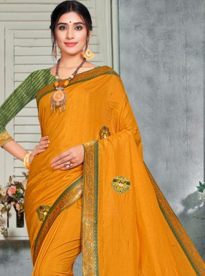 Embroidered Yellow Silk Casual Saree
