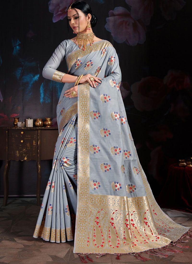 Art Banarasi Silk Weaving Designer Traditional Saree in Grey