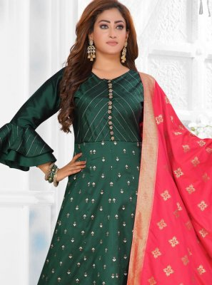 Fancy Art Silk Green Readymade Suit