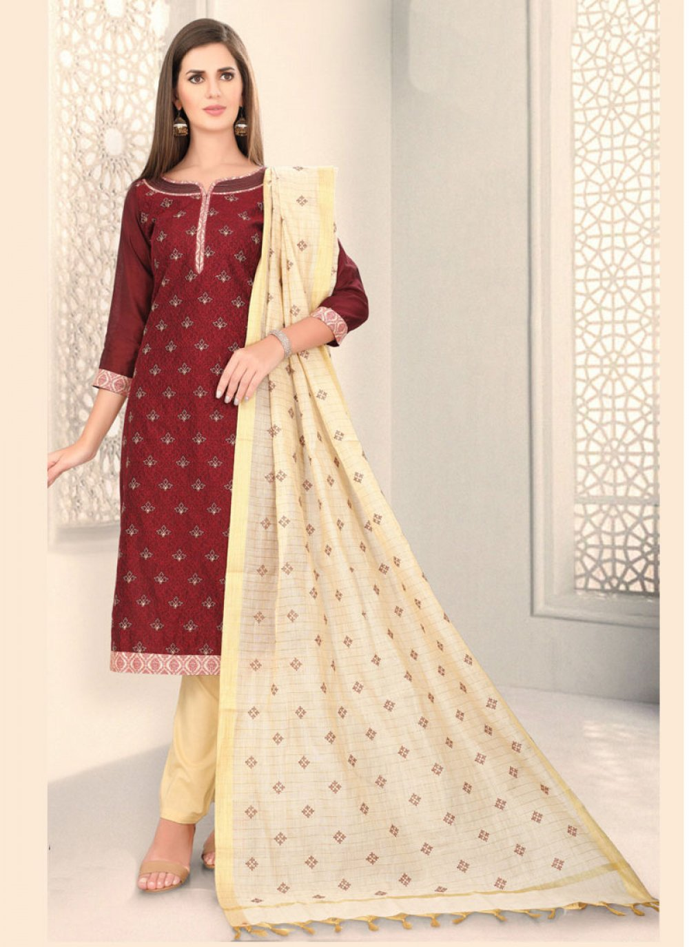 Fancy Chanderi Churidar Designer Suit in Maroon