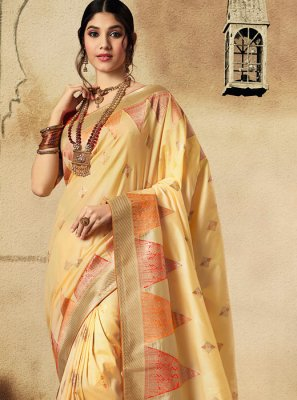 Fancy Cream Jacquard Silk Classic Saree