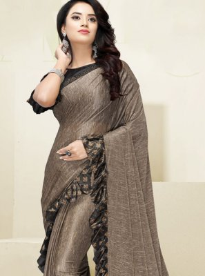 Fancy Fabric Beige Border Designer Saree