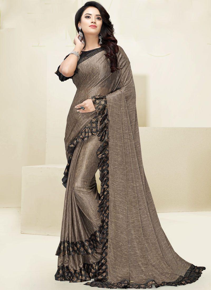 Fancy Fabric Beige Border Designer Saree