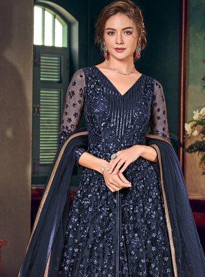 Fancy Fabric Blue Trendy Salwar Suit