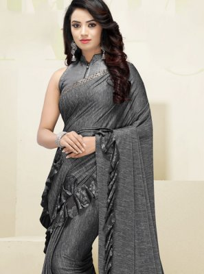 Fancy Fabric Border Designer Saree in Grey