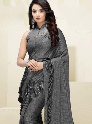 Fancy Fabric Border Designer Saree in Grey