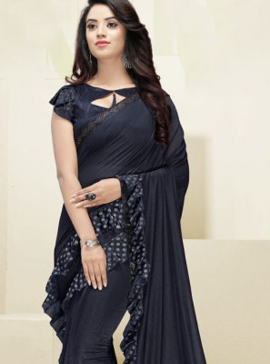 Fancy Fabric Border Designer Saree in Navy Blue