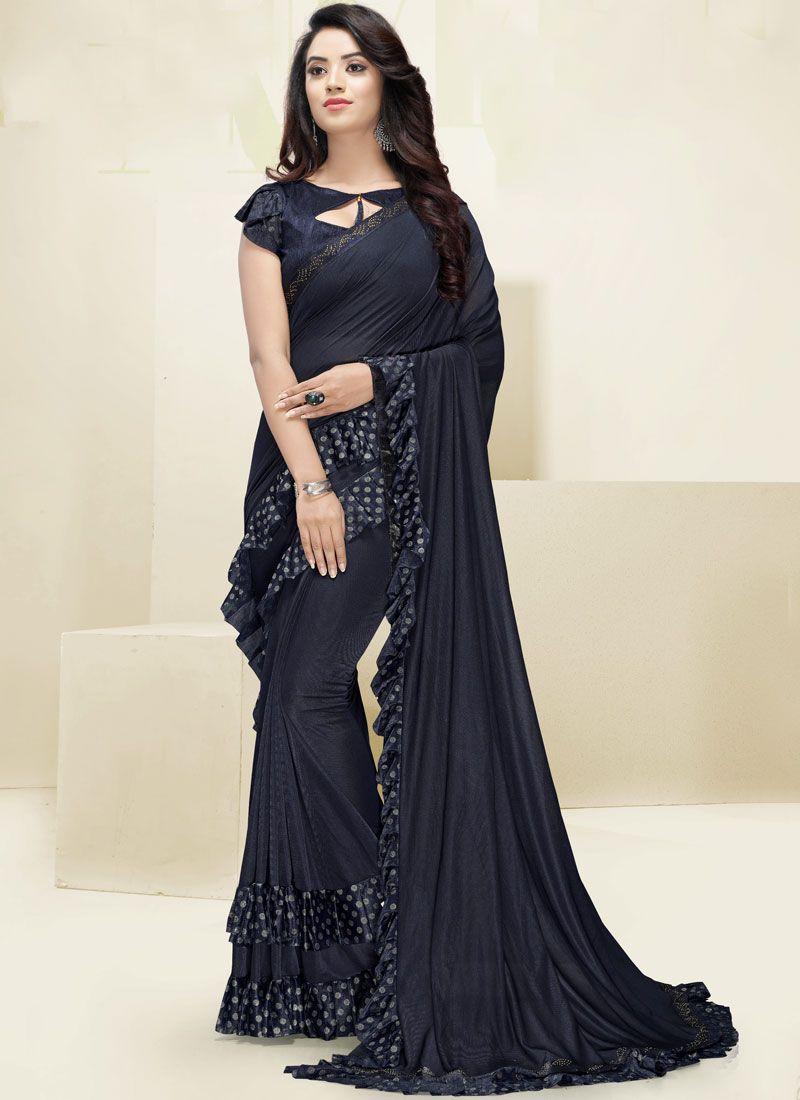 Fancy Fabric Border Designer Saree in Navy Blue