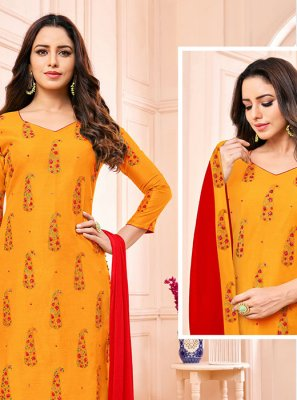 Fancy Fabric Churidar Designer Suit
