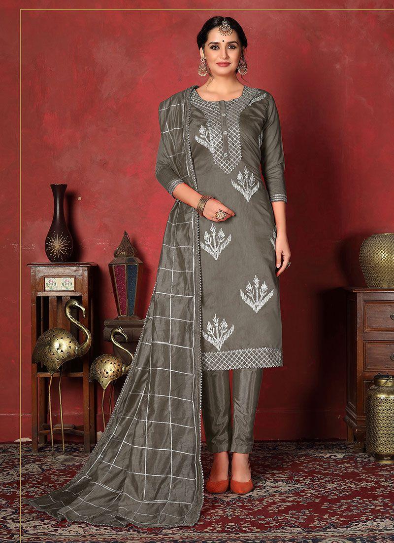 Fancy Fabric Churidar Designer Suit