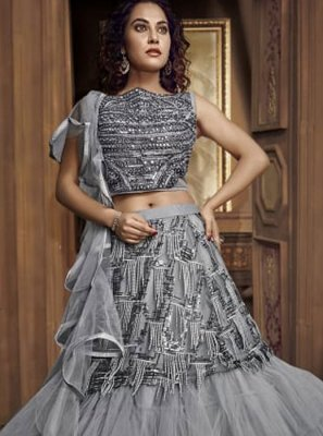 Fancy Fabric Designer Lehenga Choli in Grey
