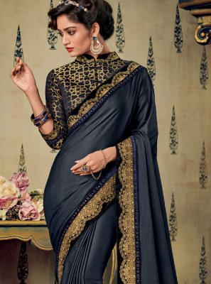 Fancy Fabric Embroidered Blue Designer Saree