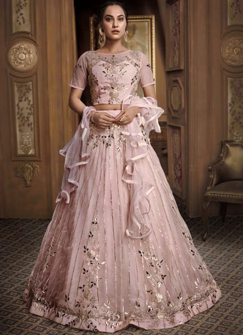 Fancy Fabric Embroidered Designer Lehenga Choli in Pink