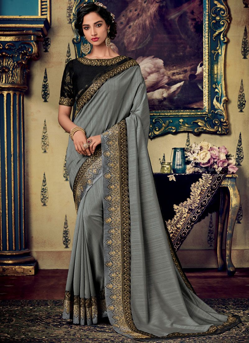 Fancy Fabric Embroidered Designer Saree