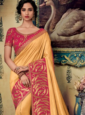 Fancy Fabric Embroidered Designer Saree in Gold
