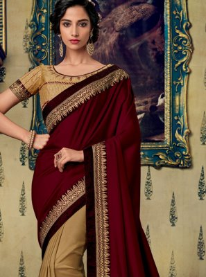 Fancy Fabric Embroidered Maroon Designer Saree