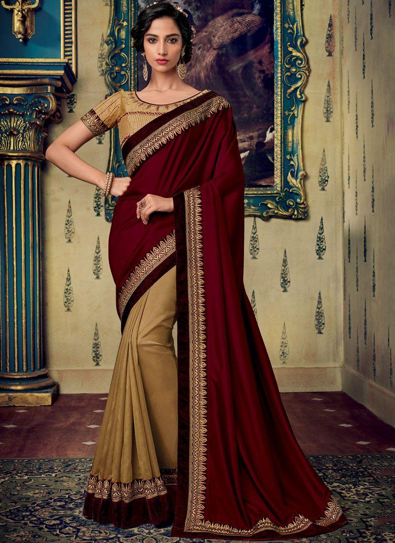 Fancy Fabric Embroidered Maroon Designer Saree