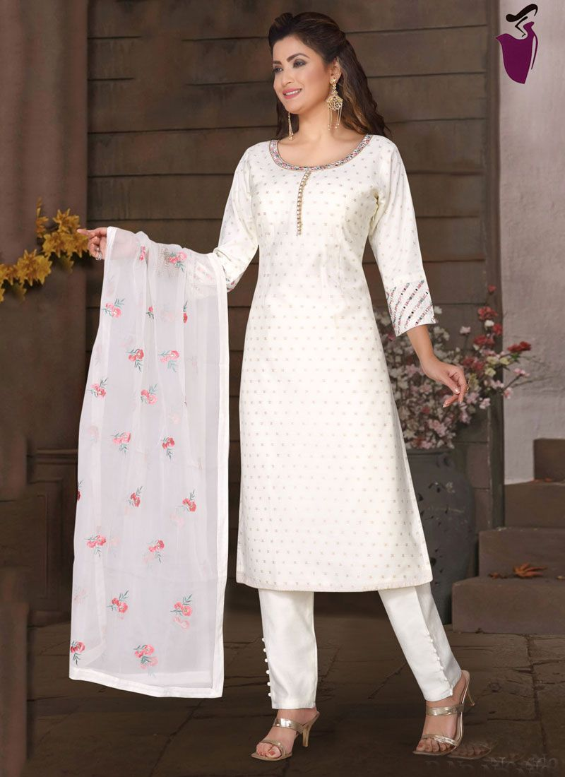 Fancy Fabric Embroidered Readymade Suit