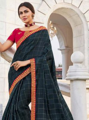 Fancy Fabric Embroidered Traditional Saree in Navy Blue