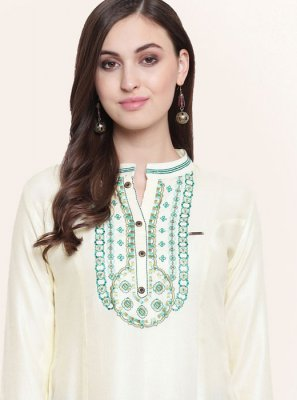 Fancy Fabric Embroidered White Party Wear Kurti
