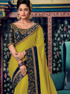 Fancy Fabric Embroidered Yellow Designer Saree