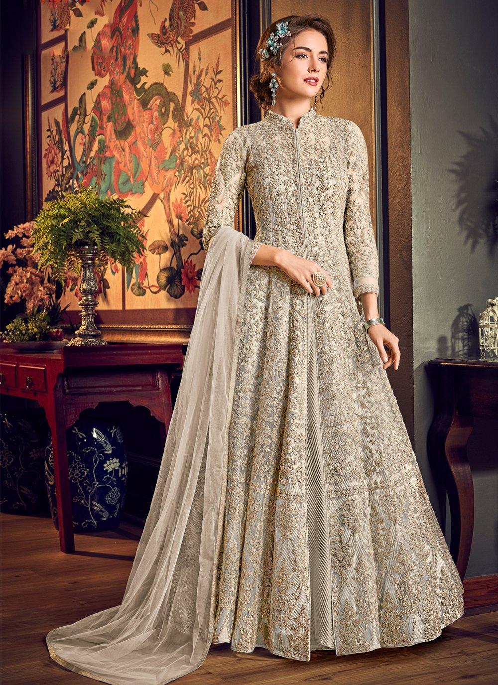 Fancy Fabric Engagement Jacket Style Salwar Suit