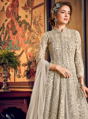Fancy Fabric Engagement Jacket Style Salwar Suit